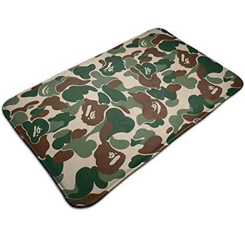 Bape Ape Camo Green Doormat Entrance Mat Floor Mat Rug Indoor/Outdoor/Front Door/Bathroom Mats Rubber Non Slip 20 X 31.5 Inch Welcome Doormat