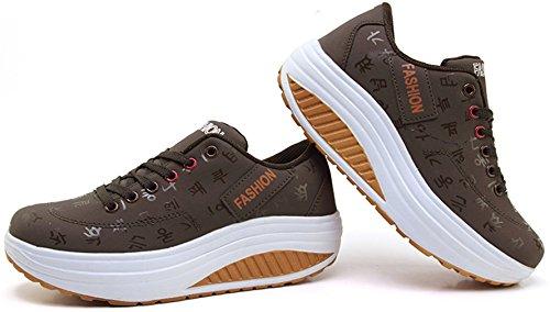 99d844d420f1 ... Solshine Damen Fashion Plateau Schnürer Sneakers mit Keilabsatz  WALKMAXX Schuhe Fitnessschuhe Braun ...