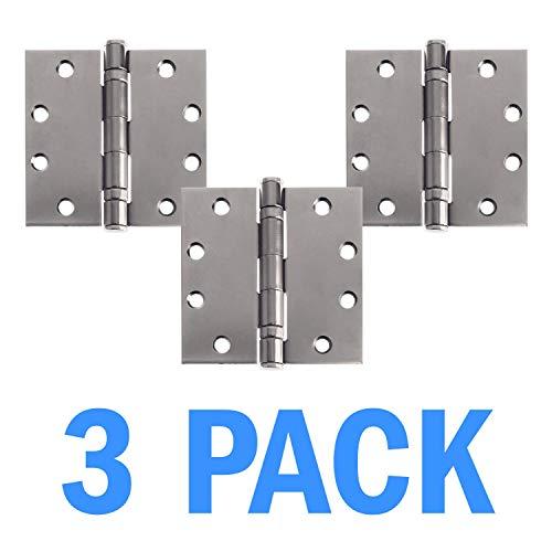 Nuk3y Commercial Grade Ball Bearing Door Hinge, NRP 4-1/2 x 4-1/2 Full Mortise Brush - 3- Pack (Stainless Steel)