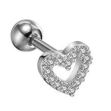 BodyJ4You 16 Gauge Heart Cartilage Tragus Earring