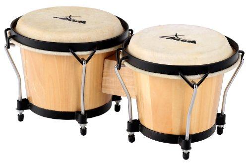 XDrum Bongo Club Standard 17cm (6 3/4 Zoll) Macho und 20cm (8 Zoll) Hembra Holz natur Percussion Holzbongo Naturfelle Trommel