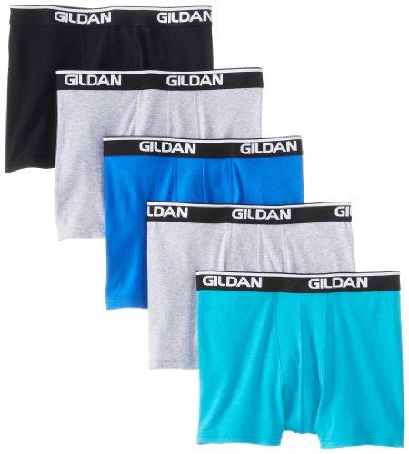 Gildan Men's Platinum Short Leg Boxer Brief - Medium - Black Assorted (Pack of 5) by Gildan Platinum