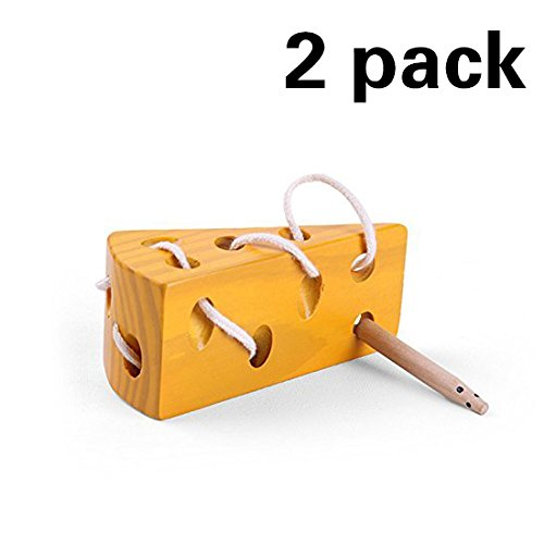 2 Pack Montessori Activity Wooden Baby and Kids Cheese Toys Toddler Travel Lacing Game for Car Plane, Children Early Learning Educational Wood Block Puzzles, Suitable for Boy Girl Above 18 Months by KOMIWOO