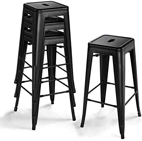 VITESSE 30 Inches Metal Bar Stools Set of 4, Premium Backless Stackable Industrial Square Counter Height Chairs, Ideal for Farmhouse, Indoor-Outdoor, Kitchen Black