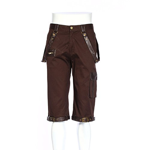 (Men's Steampunk Costume Shorts, Coffee Brown)