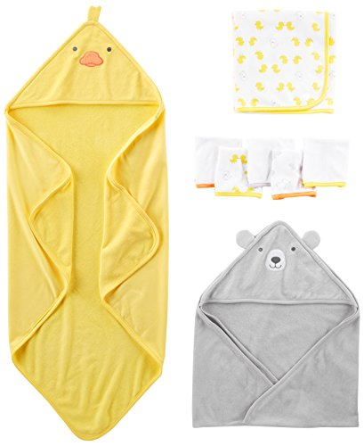 Simple Joys by Carter's Baby 8-Piece Towel and Washcloth Set, Yellow/Grey, One Size 1 Piece Hood