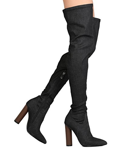 ROBBIN The Boots Thigh Over High Womens Knee Denim CONNIE Stretch Black 10 CAPE dBfS0d