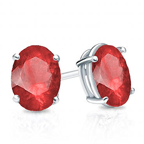 Dazzlingrock Collection 14K 6x4 mm each Oval Cut Ruby Ladies Solitaire Stud Earrings, White Gold 14k 6x4mm Oval Ruby Earring