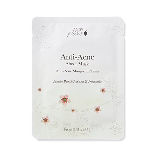 100% PURE Anti Acne Sheet Mask (1 PC), Acne Face Mask with Tea Tree Oil, Hyaluronic Acid, Full-Face Sheet Mask for Clear Skin, Sustainably Made - Single Mask (Best Anti Acne Mask)