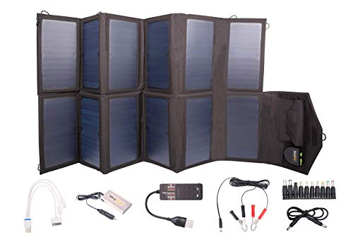 Folding Solar 80W Battery Charger Kit with Fast Charge 6000mAh Power Bank - Portable and Lightweight. The Best Bug-Out Solar Kit