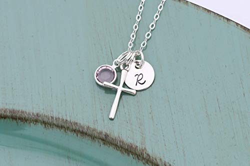 Sterling Silver Cross Necklace - ROI - Christening Gift - Confirmation - First Communion Baptism - Personalized Initial Birthstone - 3/8 Inch 9MM Disc -Fast 1 Day Production