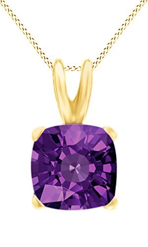 Amethyst Cushion Shape - Jewel Zone US AFFY Women's Classic Simulated Amethyst Cushion Shape Pendant Necklace in 10k solid Yellow Gold (3 1/2 cttw)