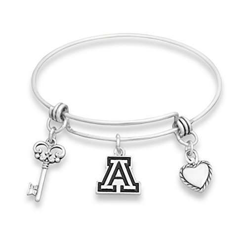 FTH Arizona Wildcats Silver Tone Bangle Bracelet, Heart and Key Charm