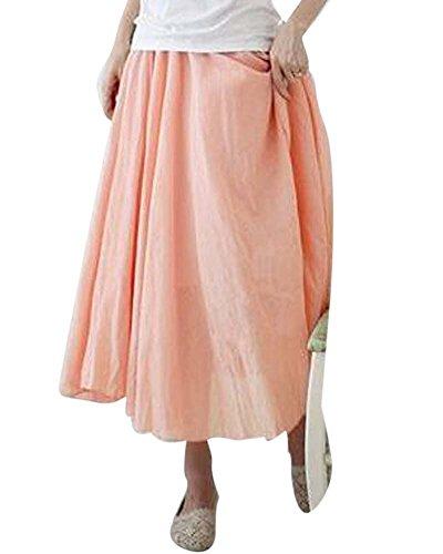 Mujer Elegante Elástico Dobladillo Grande Falda Irregular Vestido De La Playa Verde Pink