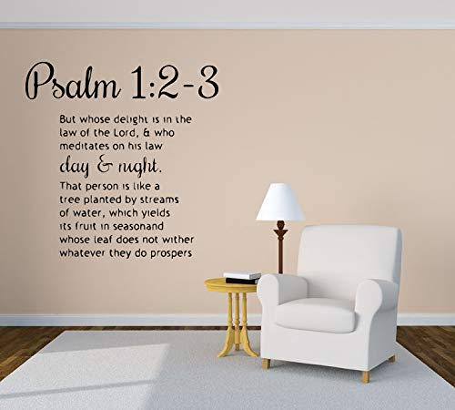 Wall Vinyl Sticker But Whose Delight Is In The Law Of The Lord Psalm 1:2-3 Quote Phrase Inscription Mural Decal Art Decor LP0744