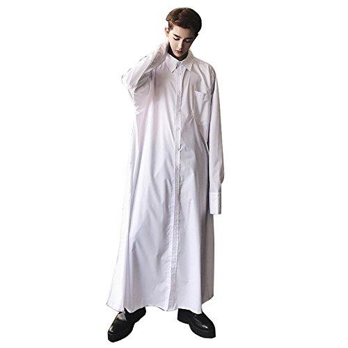 N&E-EMAIGI Men's Muslim Black White Business Saudi Arabic Thobe Long Sleeve Casual Pullover Dress Shirts Robes