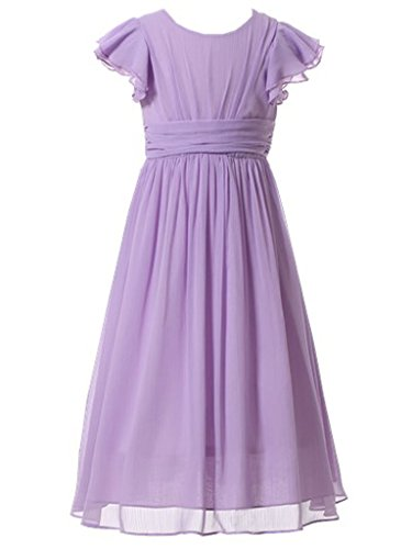 (Happy Rose Flower Girl's Dress Prom Party Bridesmaid Dress Long Lavender)