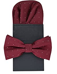 Heymei Men's Convenience Pre-tied Square Bowtie Pocket Square Handy Set No.2 (Crimson)