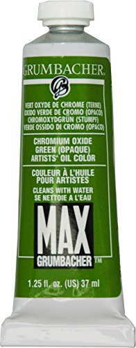 Grumbacher Max Water Miscible Oil Paint, 37ml/1.25 oz, Chromium Oxide Green Opaque
