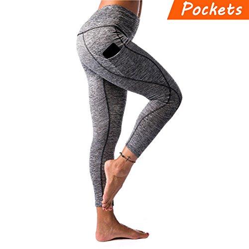 KT Sports Yoga Leggings, Gym Workout Pants Fitness Mesh Leggings for Women (Dark Gray, Large)