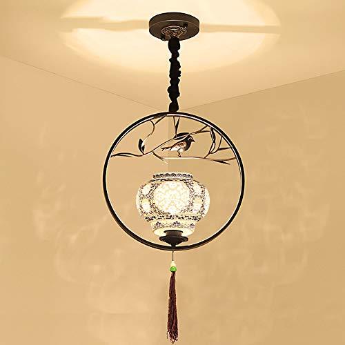 DECORATZ LED Retor Iron Rund Ring Chinese Style Chandeliers, Blue and White Ceramic Lampshade E27 Screw Creative Bird Decoration Lamp Fixture for Hallway Aisle Restaurant-Black (Runde Shades)