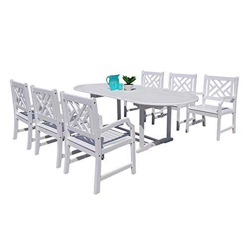 7 Piece Extension Table - Vifah Torreya Outdoor 7-Piece Wood Patio Dining Set with Extension Table in White