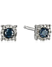 Sterling Silver Blue and White Diamond Stud Earrings (1/4 cttw)