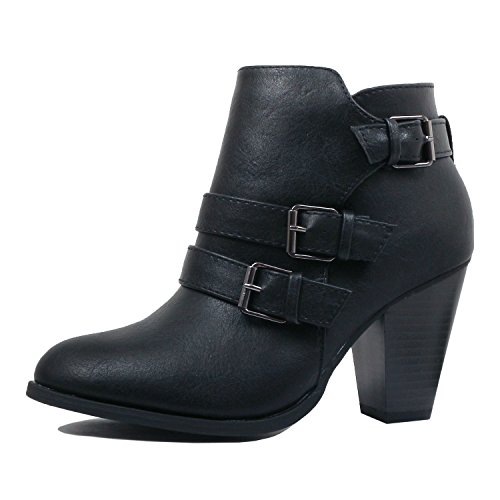 Blackv1 Heart Pu Guilty Ankle Bootie Comfortable Toe Block Boots Closed Chunky Womens Mid Heel 7Odq6O