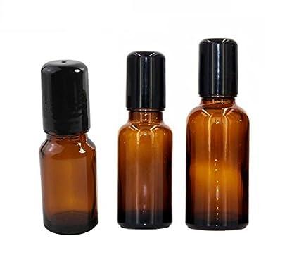805fef3e541b 4 Packs Glass Roll-on Bottles Refillable Empty Stainless Steel ...