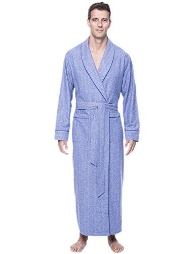 Men's Premium Flannel Long Robe - Herringbone Blue - Small/Medium