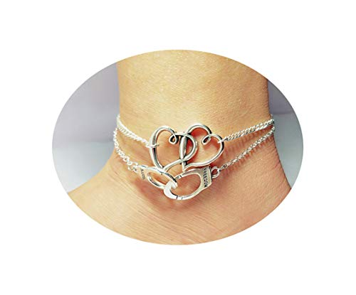 Mooinn 2pcs Anklets Set Boho Heart Anklets Vintage Handcuffs Ankle Bracelet Delicate Foot Jewelry for Women