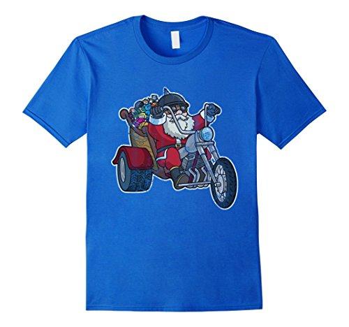 Mens Biker Santa Claus Motorcycle Shirt 2XL Royal (Biker Santa)