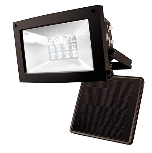 Solar Powered Led Light - MAXSA Solar-Powered 10 Hour Floodlight. Uplight Signs, Flags, Statuary & Outdoor Spaces. Durable & Weatherproof Dusk-to-Dawn Solar LED Light, Black 40330