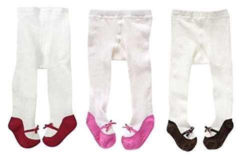 Jeleuon Baby Girls Infant Toddler 3 Pack of Soft Stock Tights Warm Legging Pants