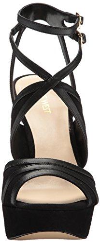 Nine West Women's Valeska Leather Heeled Sandal Black Leather free shipping amazing price 2zajuEo3VB