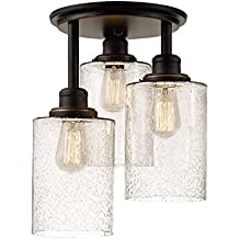 Globe Electric 65904 Annecy 3 Semi-Flush Mount Ceiling Light, Oil-Rubbed Bronze Finish, Seeded Glass Shades, 0, Oil Rubbed Bronze Semi-Flushmount