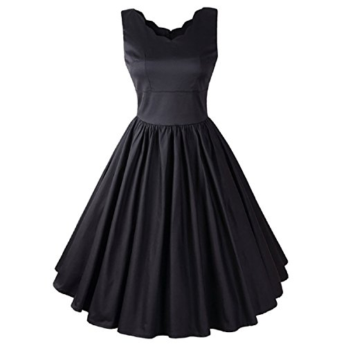 1950s Vintage Rockabilly Swing Dress Scalloped V-Neck Retro Fit and Flare Pleated Dress (Brenda Swing Dress)