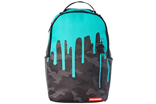 Sprayground Tiff Drips Print Backpack Unisex Style: 910B1601NSZ-CAMO/TEAL Size: One Size for All