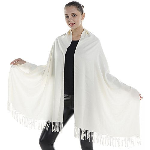 (Niaiwei Women Scarf Plaid Blanket Scarves Wraps Shawl winter Cashemere scarf (Milk))