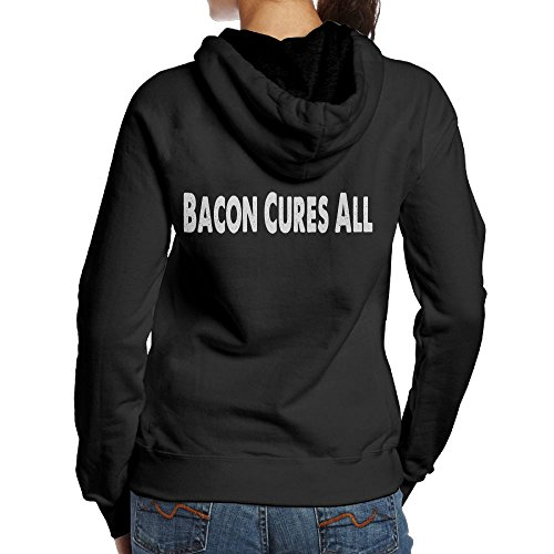 Bacon Cures All 2018 New Fashion Long Sleeve for Women Movement Hoodie Sweatshirt (Back) Black