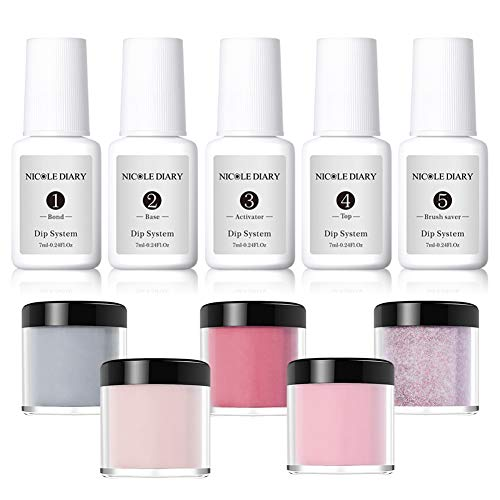 NICOLE DIARY Dip Powder Nail Starter Kit Acrylic Dipping System Clear Liquid Acrylic Pigment Powder for French Nail Manicure Set (Comes with Base, Activator, Top, Bond and Brush Saver)