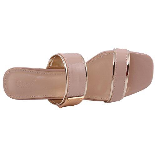 Gold Mid 8 Casuale Upper Women Double Formale Uk 3 Beige High Unze Strap Brevetto Size Slide CfZqpwY