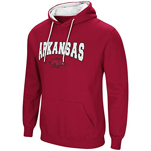 - Colosseum NCAA Men's-Cold Streak-Hoody Pullover Sweatshirt with Tackle Twill-Arkansas Razorbacks-Cardinal-Large