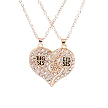 Big Sis Lil Sis BFF Best Friends Forever Broken Heart Sisters Family Matching Pendant Necklace Set