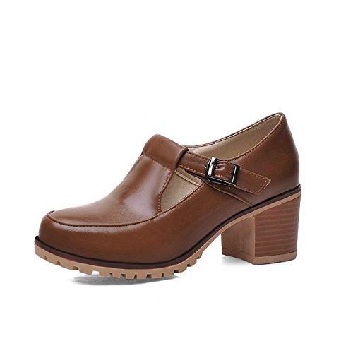 Amoonyfashion Gonnellino Da Donna Morbido Materiale Fibbia Solida Rotonda Punta Chiusa Pompe-scarpe Marrone