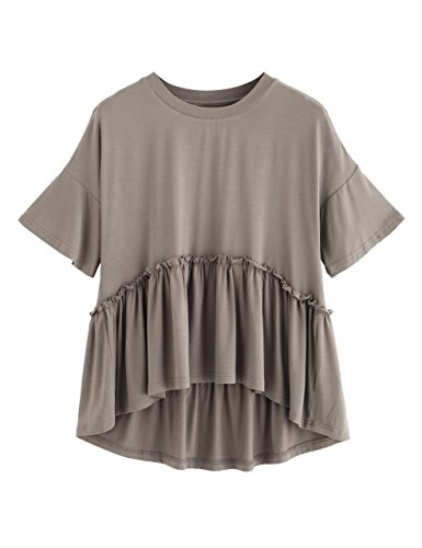 (Romwe Women's Loose Ruffle Hem Short Sleeve High Low Peplum Blouse Top Khaki XX-Large)