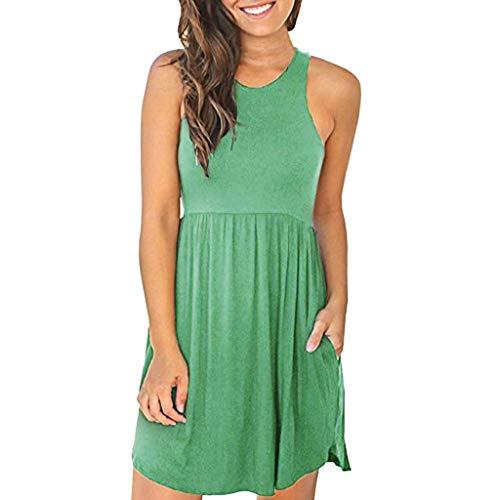 (Sunhusing Women's Solid Color Slim Round Neck Sleeveless Tank Dress Elastic Waist Pocket Loose Mini Dress Green)
