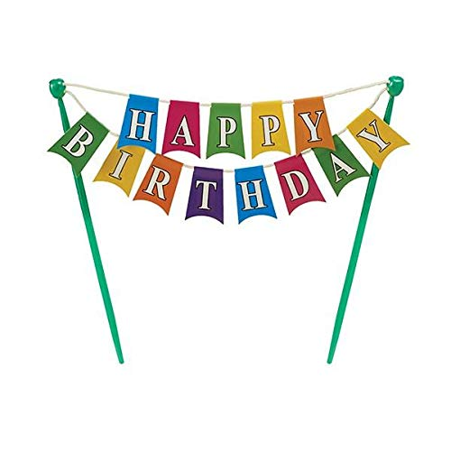 Happy Birthday Banner Adornment Cupcake/Cake Decorating Banner,1