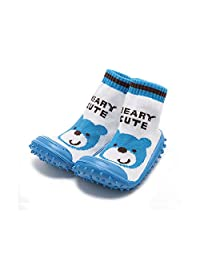 iEndyCn Baby Socks with Rubber Soles Children Non-Slip Breathable Toddler Shoes Socks Cotton Baby Sock Shoes Blue