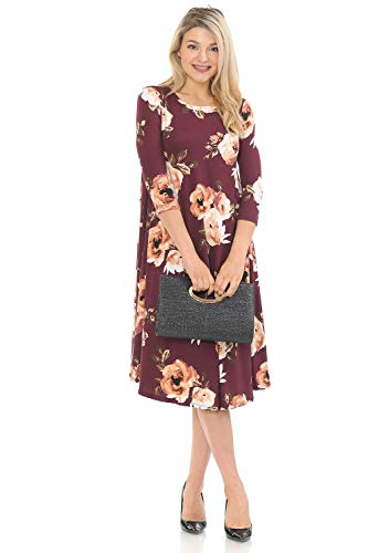 iconic luxe Women's A-Line Swing Trapeze Midi Dress X-Large Floral Wine Ginger (Print Trapeze Dress)